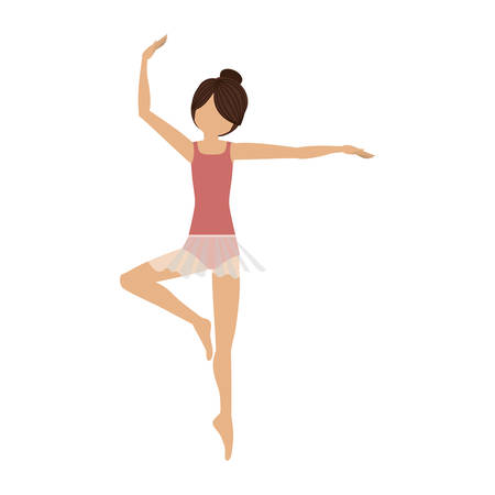 tiptoe: colorful dancer pirouette third position vector illustration Illustration