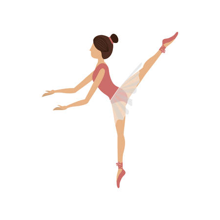 fifth: colorful dancer pose fifth arabesque vector illustration Illustration