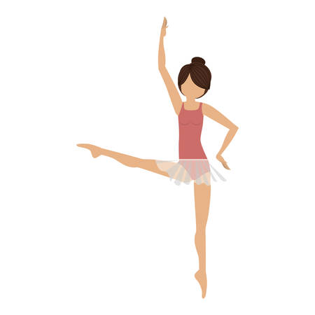 colorful dancer fourth position developed vector illustration