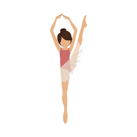 fifth: colorful dancer fifth position with leg up vector illustration Illustration