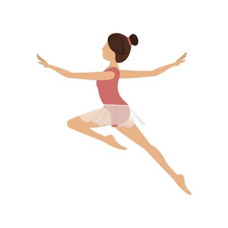 colorful dancer jump second arabesque vector illustration