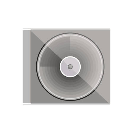 optical disk: silhouette gray scale compact disc box vector illustration Illustration