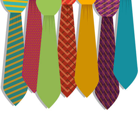 striated: Multiple ties in various colors with figures vector illustration