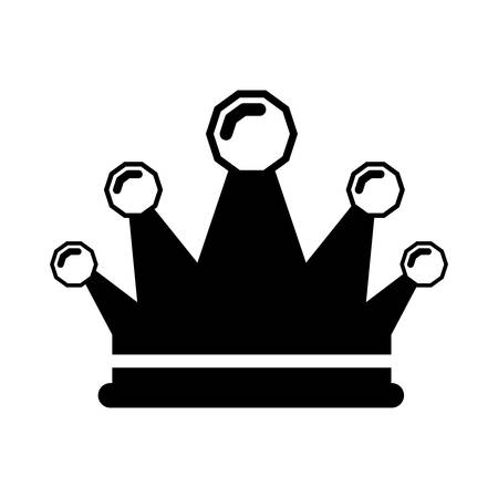 medieval dress: black silhouette crown king with precious stones vector illustration Illustration