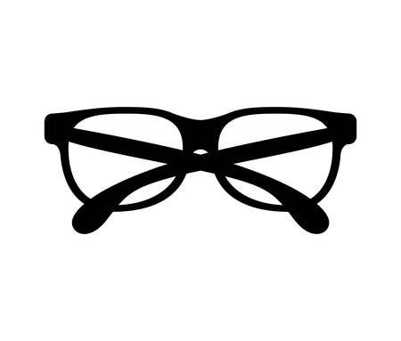 black silhouette graphic with oval glasses lens Illustration