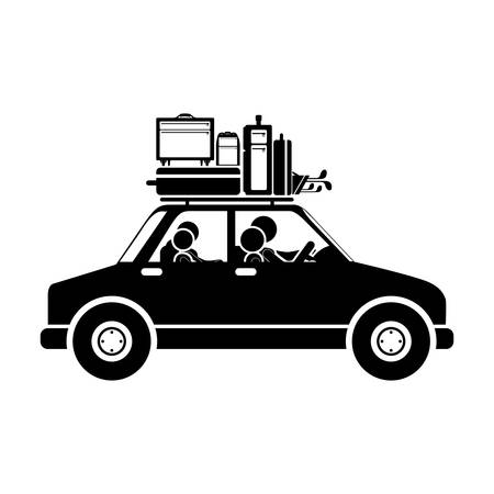 black family: black silhouette family car with baggage vector illustration