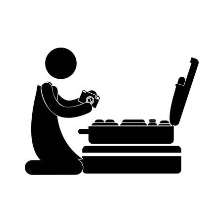 portmanteau: person kneeling with camera and baggage vector illustration Illustration