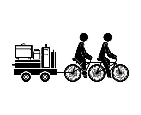 black silhouette people transporting baggage vector illustration
