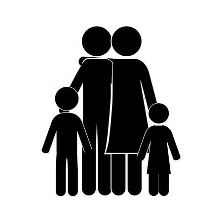 black family: black silhouette of family embracing vector illustration Illustration