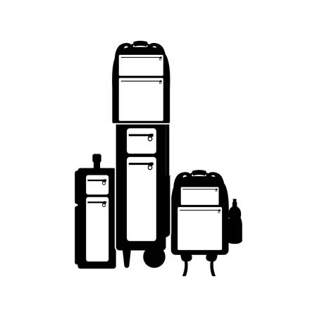 ilhouette: black ilhouette multiple baggage with bottle vector illustration