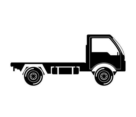 truckload: black silhouette truck transport with wheels vector illustration Illustration
