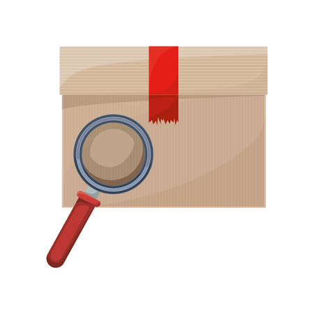 packing: sealed box with packing tape vector illustration