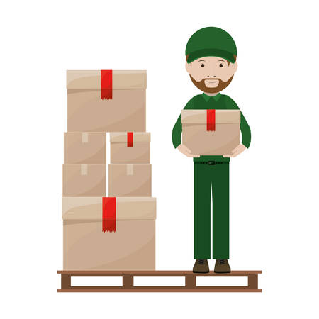 shipper: stowage with package and person dispatcher vector illustration