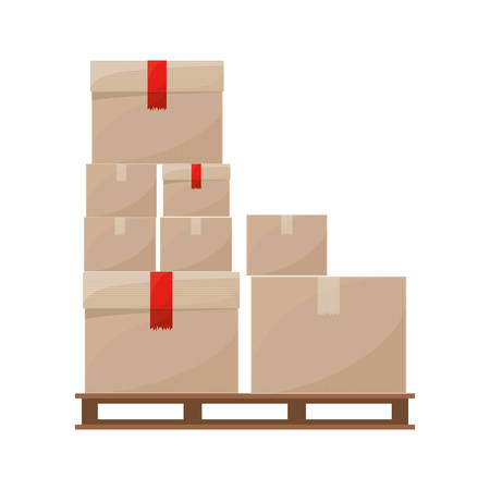sealed: stowage boxes stacked and sealed vector illustration