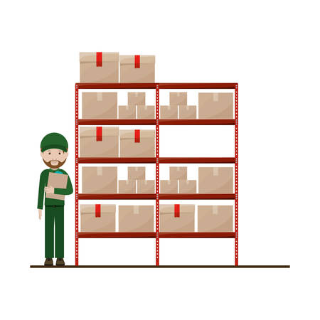 sealed: red shelves with sealed package and dispatcher vector illustration