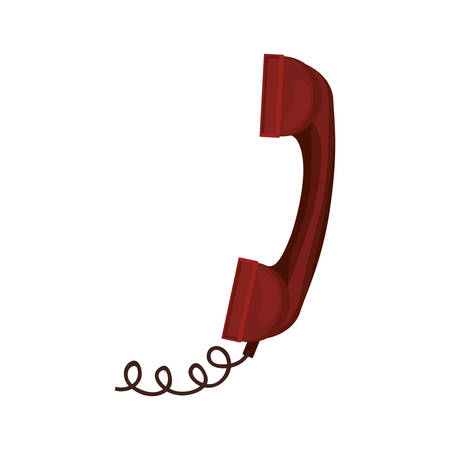 antique telephone: red antique telephone with cord vector illustration