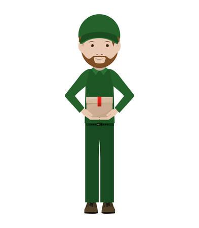 uniform green shoe: body messenger with sealed small box vector illustration Illustration