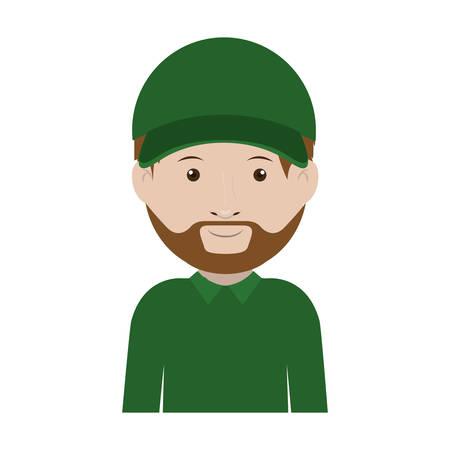 dispatcher: dispatcher with green uniform and hat vector illustration