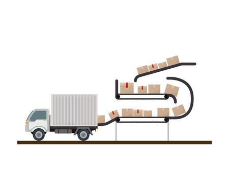 stored: conveyor belt stored sealed boxes vector illustration