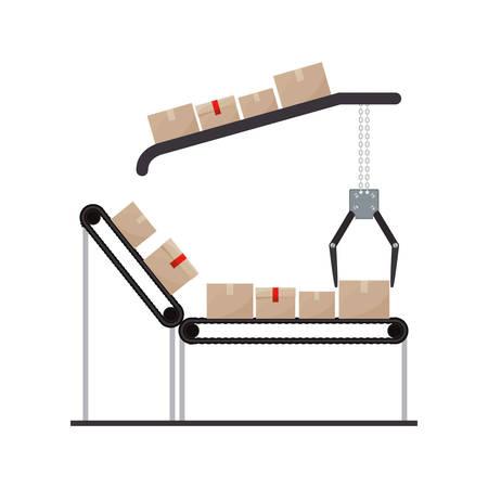 transportband met verzegelde verpakking en kraan monteurs vector illustratie Vector Illustratie