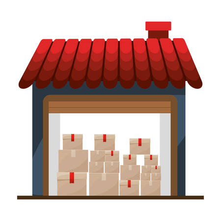 sealing tape: storage cellar with multiple package vector illustration