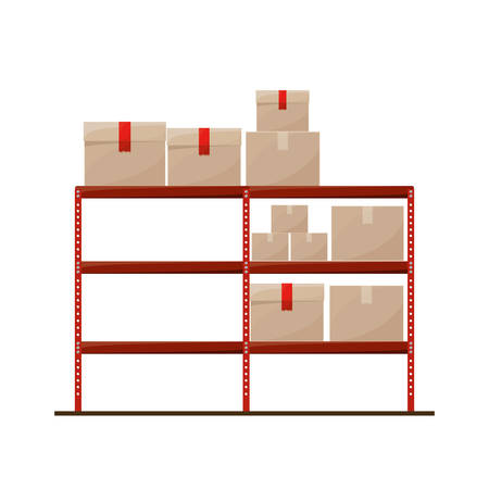 sealed: red shelves with sealed package vector illustration