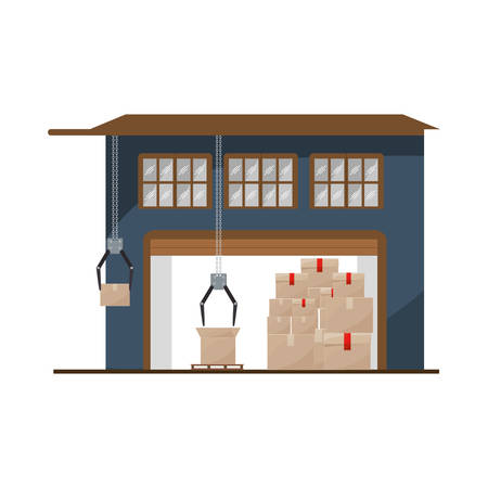 sealing tape: storage cellar with packages and crane mechanics vector illustration