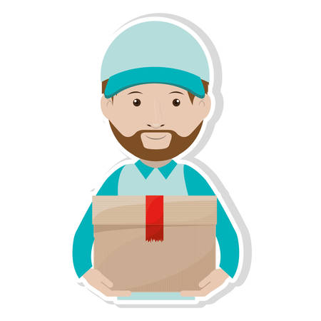 Logistics Assistant with sealed package vector illustration Illustration