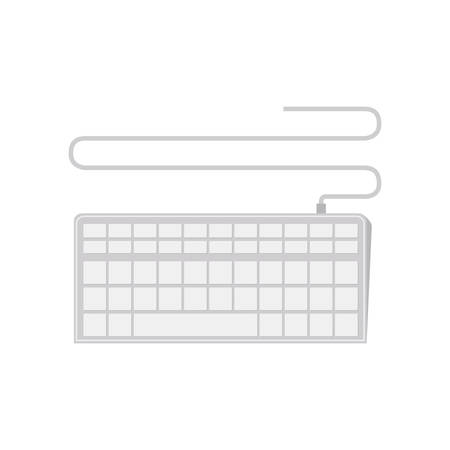 wired: tech computer wired keyboard Connection vector illustration Illustration
