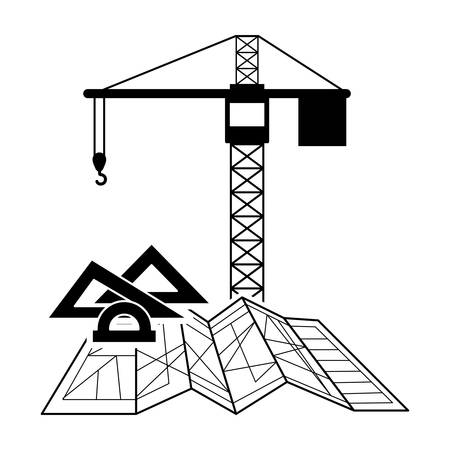 tower crane: black silhouette construction tower crane and architecture elements vector illustration Illustration