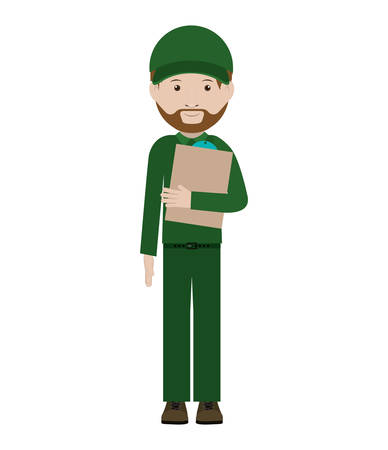 dispatcher: body messenger with table notepad vector illustration Illustration