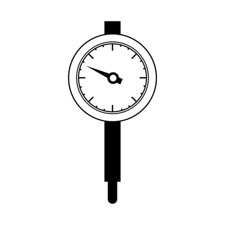 micrometer: black silhouette micrometer with gauge needle vector illustration