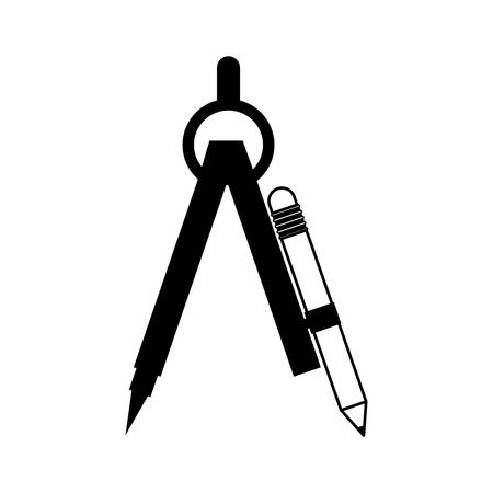 pencil set: black silhouette drawing compass with pencil set vector illustration Illustration