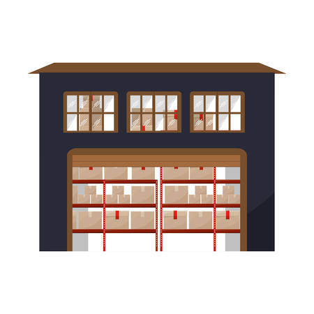 sealing tape: big storage cellar with multiple package vector illustration