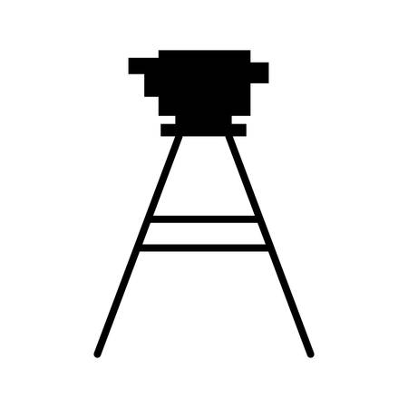 black silhouette tripod for surveying vector illustration