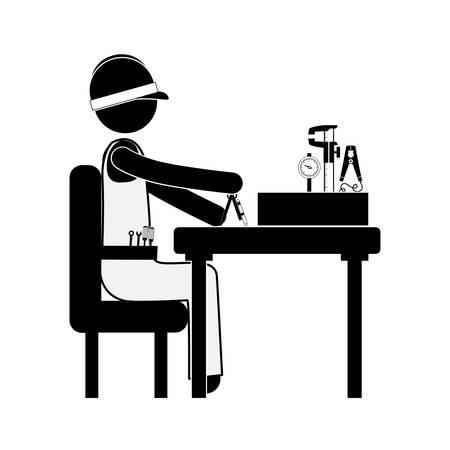 compas de dibujo: ingeniero que se sienta con la medición de elementos de ilustración vectorial