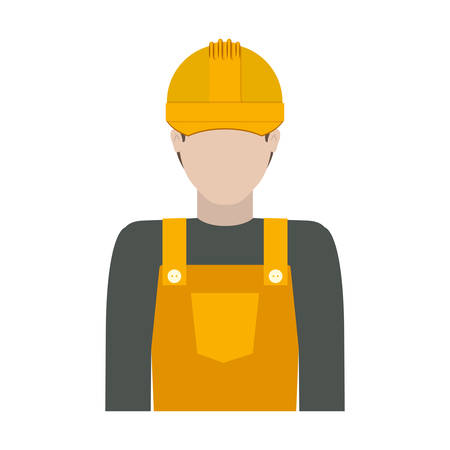 worker with uniform and helmet vector illustration
