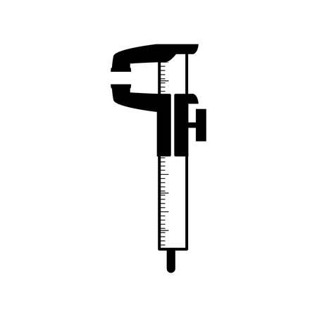 measurements: black silhouette gauge with ruler and measurements vector illustration Illustration