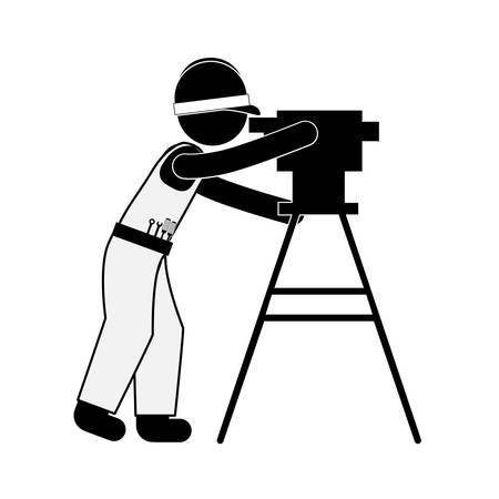 silhouette noire arpenteur-géomètre avec l'équipement topographie illustration vectorielle Vecteurs