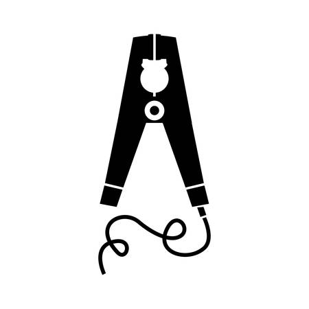 wired: black silhouette electric pin with wired vector illustration