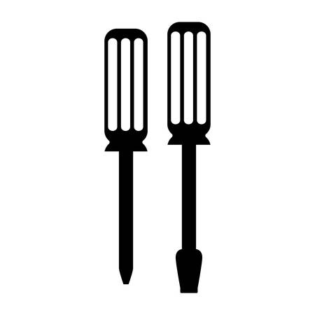 phillips: black silhouette of flat tip and phillips screwdriver vector illustration Illustration