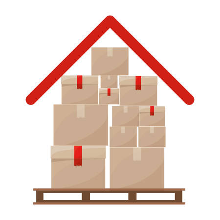 red roof: red roof with multiple packages stacked on stowage vector illustration