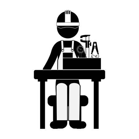 compas de dibujo: ingeniero silueta negro que se sienta con la medición de elementos de ilustración vectorial