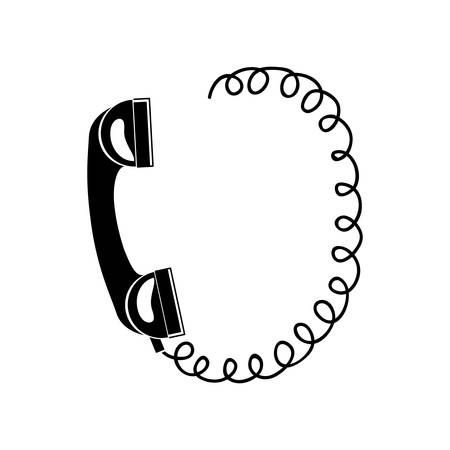 telefono antico: black silhouette antique telephone with cord vector illustration Vettoriali