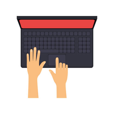 hands typing on laptop with red screen