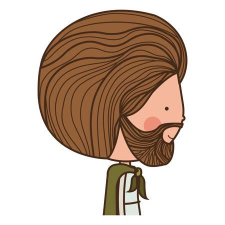 nativety: cartoon saint joseph bearded man over white background. religious manger symbol.  vector illustration