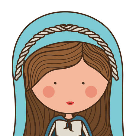 cartoon virgin mary woman smiling and wearing blue mantle over white background. vector illustration