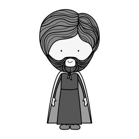 cartoon saint joseph bearded man over white background. religious manger symbol.  vector illustration