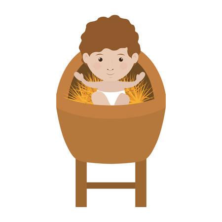 nativety: cartoon baby jesus smiling over white background. vector illustration Illustration