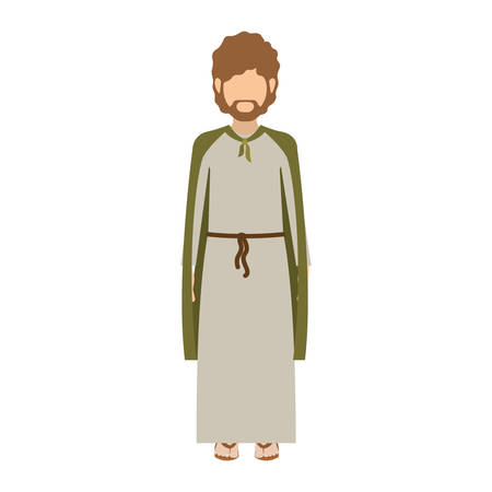 bearded man: cartoon saint joseph bearded man over white background. religious manger symbol.  vector illustration